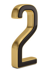 Gold metal numeral 2  isolated on white background 3D illustration.
