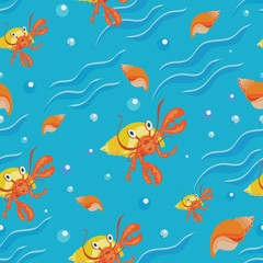 Hermit crab, sea and seashells. Blue background with waves. Seamless pattern. Design for tapestries, children's textiles with characters from the cartoon inhabitants of the sea.