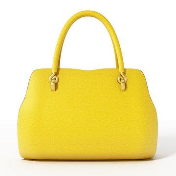 Yellow handbag isolated on white background. 3D illustration