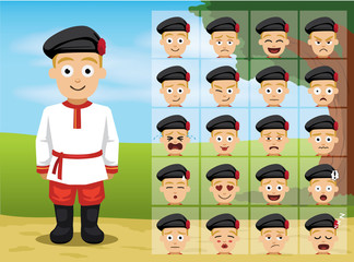 Russian Folk Boy Cartoon Emotion faces Vector Illustration