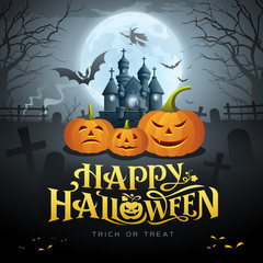Happy Halloween gold message, pumpkin bat, witch, castle, design background, vector illustrations