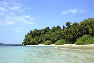 Tropical Beach of Coibita, aka Rancheria, with Isla Coiba in the Background. Coiba National Park, Panama