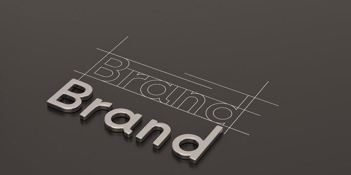 Steel word brand on black background brand concept design 3D illustration.