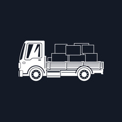 White Silhouette Small Cargo Truck with Boxes Isolated on Black Background, Delivery Services, Logistics, Shipping and Freight of Goods,  Vector Illustration