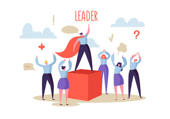 Business Leadership Concept. Manager Leader Leading Group of Flat Characters People to the Success. Business Motivation. Vector illustration