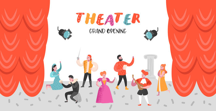 Theater Actor Characters Set. Flat People Theatrical Stage Poster. Artistic Perfomances Man and Woman. Vector illustration