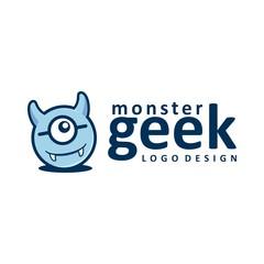 Monster Geek Logo Design, Monster Design Logo Vector Illustration