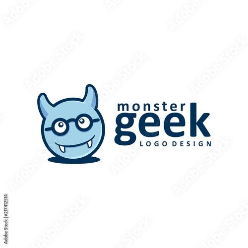 monster geek logo design monster design logo vector stock image