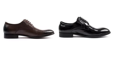 Black men's shoes on white background