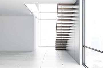 Empty white loft room interior, stairs