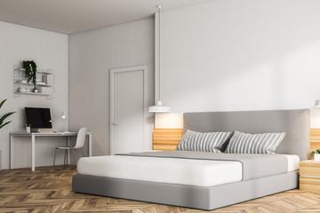White bedroom corner, home office