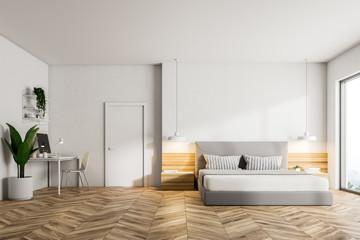Wooden floor bedroom interior, front view