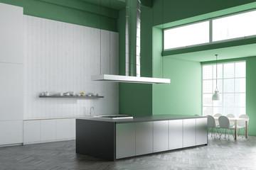 Green industrial style kitchen corner