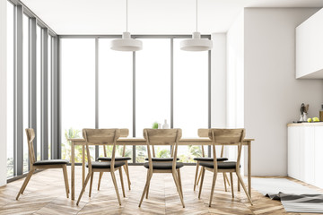 White panoramic dining room and kitchen interior