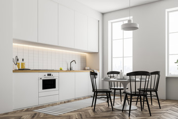 White kitchen countertops and table
