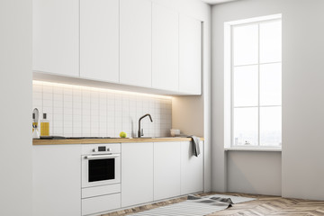 White kitchen countertops, side view