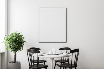 Poster in a white dining room interior