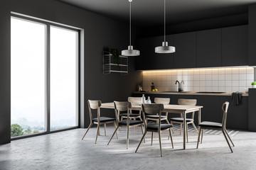 French window black kitchen corner