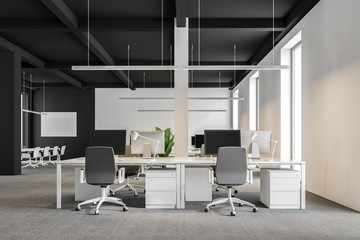 Dark gray and white industrial style office, front