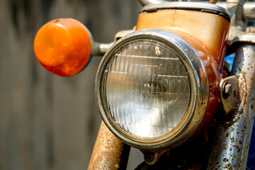 head and side light of vintage motorcycle