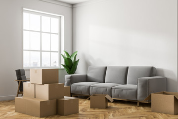 White living room corner with boxes