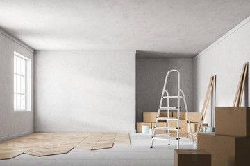 Concrete wall room with unfinished wooden floor