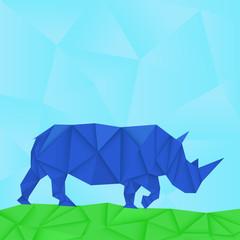 Blue rhinoceros. Paper polygonal