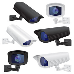 CCTV camera set. White and black security surveillance system