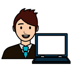 businessman with laptop avatar character