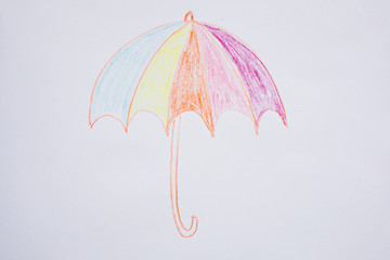 umbrella autumn children drawing