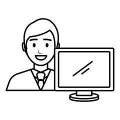 businessman with computer avatar