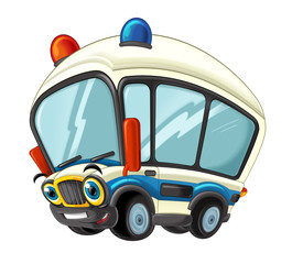 cartoon scene with happy ambulance truck on white background - illustration for children