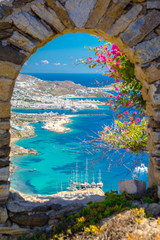 Mykonos port with boats and windmills, Cyclades islands, Greece