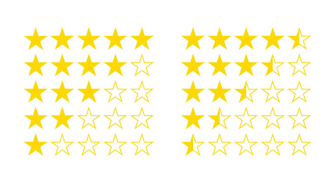 Five star rating from half star to 5 illustration flat icon vector