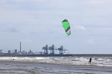 kitesurfer off Aberavon Beach