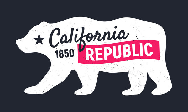 California Republic bear. Vintage poster. Print for T-shirt, typography. Retro design.Vector illustration