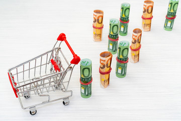 Shopping cart and Euro rolls