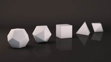 A set of Platonic solids of white snow, cold, geometric, glossy surface. Polygonal shapes, polyhedra in the Studio with a reflective background. Illustration of abstraction. 3D rendering