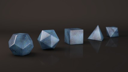 The group of Platonic solids, blue marble, mottled stone, a marble surface. Polygonal shapes, polyhedra in the Studio with a reflective background. Illustration of abstraction. 3D rendering