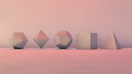 A set of geometric shapes in the Studio, polyhedra, the five Platonic solids. The idea of perfection and precision. 3D rendering. Illustration, image, abstraction.