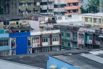 Crowded tenement houses or town houses in Bangkok city, Thailand.