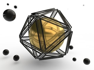 Set of gold and black spheres, one of which is hidden in a lattice of a polygonal geometric figure. The idea of mystery, beauty and perfection. Illustration isolated on white background. 3D rendering