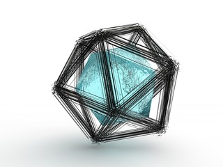 The explosion of multifaceted polygonal geometric shapes, shards, fragments in space and a blue diamond star in the center. Illustration on white background, riddle, 3D rendering
