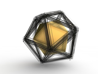Explosion of a polyhedral polygonal geometric shape, disintegration into a set of fragments, fragments in space and the whole polyhedron in the center. Illustration on white background, 3D rendering