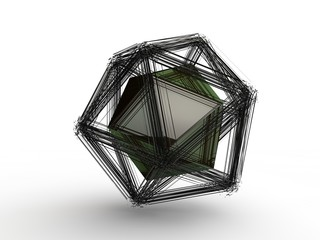 Explosion of a polyhedral polygonal geometric shape, disintegration into a set of fragments, fragments in space and a black polyhedron in the center. Illustration on white background, 3D rendering