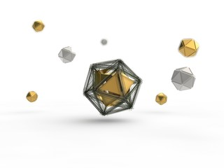 Golden icosahedron destroyed by the explosion into many small fragments surrounded by an array of icosahedra. Illustration isolated on white background, with depth of field. 3D rendering