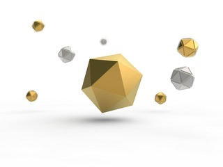 Golden icosahedron surrounded by many icosahedrons of silver and gold. Illustration isolated on white background, with depth of field. 3D rendering