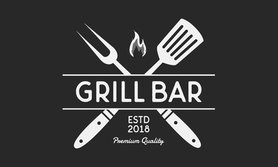 Vector logo of Grill. Restaurant  logo with grill fork and spatula. Vintage poster for cafe, restaurant, bar.  Wall mural