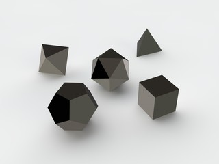geometric shapes octahedron, tetrahedron, hexahedron, dodecahedron, icosahedron black metal, iron and plastic, set, white background, isolated. 3D rendering