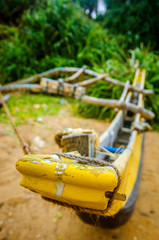 The nose of a yellow fishing boat. Sri Lanka